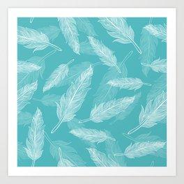 Seamless feathers pattern Art Print