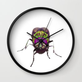 Purple Green Pschedelic Fly Wall Clock