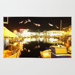 Port Of Myrina At Night Rug