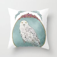 hedwig Throw Pillows featuring RIP Hedwig by 366Sketchbook