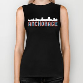 Red White Blue Anchorage Alaska Skyline Biker Tank