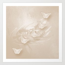 Fabulous butterflies and wattle with textured chevron pattern in subtle iced coffee Art Print