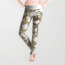 Vintage faux gold elegant floral damask Leggings