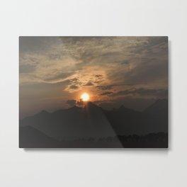 Sunset behind the Grand Tetons Metal Print