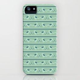 Tiny Birds Dotty Stripes Seamless Pattern iPhone Case