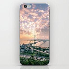 Hong Kong Landmark Tsing Bridge at sunset iPhone Skin