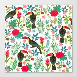 Decorative pattern with toucans, tropical flowers and leaves Canvas Print