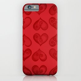 'Off With His Head Red Hearts Pattern' Wonderland styled design by Dark Decors iPhone Case