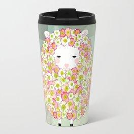 Pastel Tone Flowery Sheep Design Travel Mug