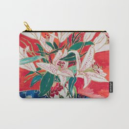 Blush Lily Bouquet on Orange Carry-All Pouch
