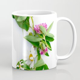 Meadow Flower Garland White Backround #decor #society6 #buyart Coffee Mug