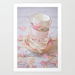Shabby Chic Vintage Cups in Pink Art Print