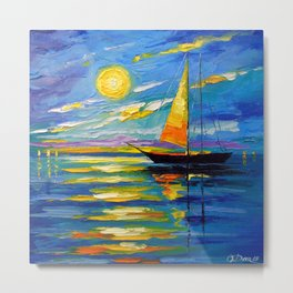 Sailboat at sunset Metal Print