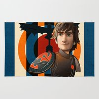 hiccup Area & Throw Rugs featuring Train a Dragon by milanova