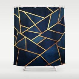 Navy Gold Stone Geometric Shower Curtain