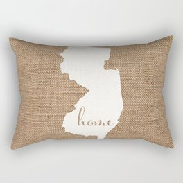 New Jersey is Home - White on Burlap Rectangular Pillow