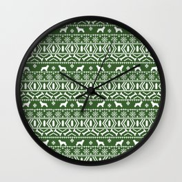 Cocker Spaniel fair isle christmas pattern dog breed holiday gifts green and white Wall Clock