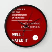 michael scott Wall Clocks featuring Michael Scott on Hate Crimes (The Office) by thebuccanear