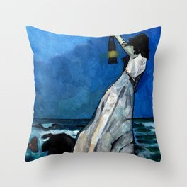 She lived almost alone in a sea of storms. Throw Pillow