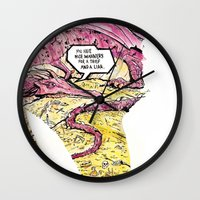 smaug Wall Clocks featuring Smaug and Bilbo by Rob O'Connor