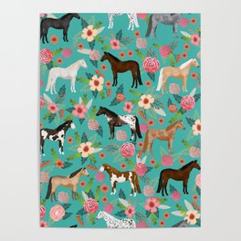 Horses floral horse breeds farm animal pets Poster