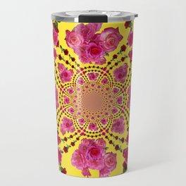 PINK-RED ROSES ON YELLOW-PINK ART Travel Mug