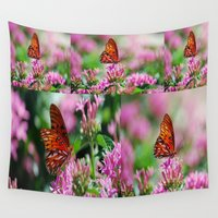 wedding Wall Tapestries featuring Wedding Butterfly by BeachStudio