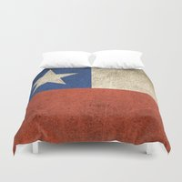 chile Duvet Covers featuring Old and Worn Distressed Vintage Flag of Chile by Jeff Bartels