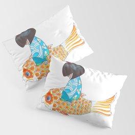 Kokeshi doll with koi carp design Pillow Sham