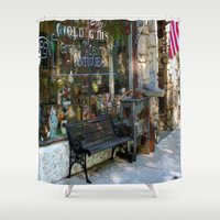 green lantern Shower Curtains featuring Green Lantern Antiques by bizwings