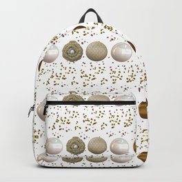 Modern white faux gold sequins geometrical dots stripes Backpack