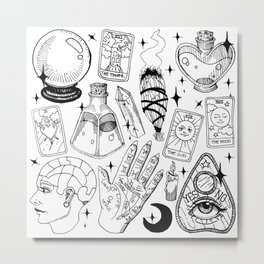 Fortune Teller Starter Pack Black and White Metal Print