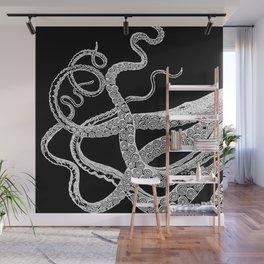Kraken White and Black Wall Mural