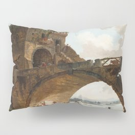 The Ponte Salario Oil painting by Hubert Robert Pillow Sham