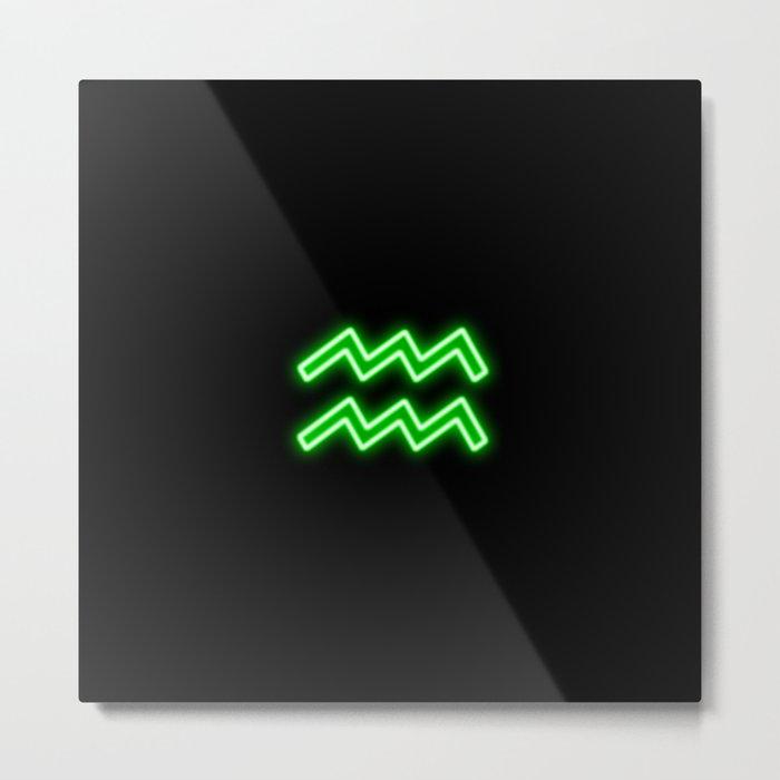 Bright Neon Green - Aquarius the Water Bearer Star Sign Metal Print