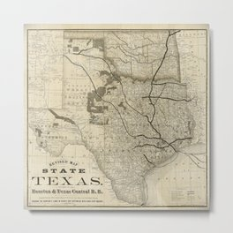 Old Map of Texas 1876 Vintage Wall map Restoration Hardware Style Map Metal Print