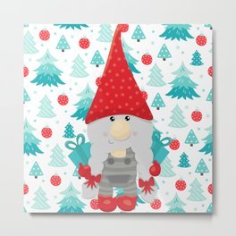 Holiday Gnome with gifts Metal Print