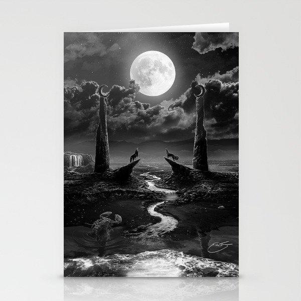 XVIII. The Moon Tarot Card Illustration Stationery Cards