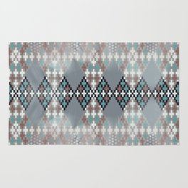 blurry diamond geo in pale teal and ochre Rug