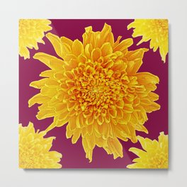 Golden Yellow Chrysanthemums Burgungy Art Design Metal Print