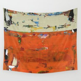 Roadrunner Bright Orange Abstract Colorful Art Painting Wall Tapestry