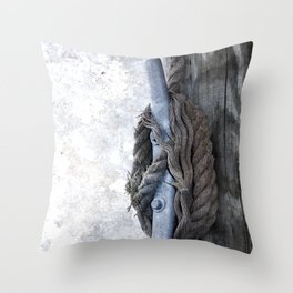 Worn Rope on Cleat Throw Pillow