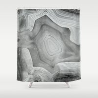 minerals Shower Curtains featuring MINERAL MONOCHROME by Catspaws