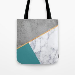 MARBLE TEAL GOLD GRAY GEOMETRIC Tote Bag