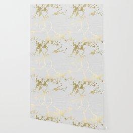 Kintsugi Ceramic Gold on Lunar Gray Wallpaper