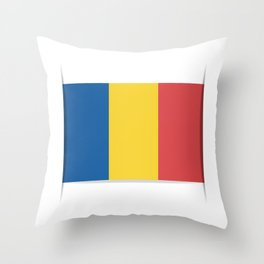 Flag of Chad, officially the Republic of Chad.  The slit in the paper with shadows. Throw Pillow