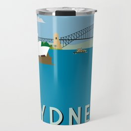 Sydney Harbour Retro Art Print Travel Mug