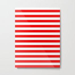 Narrow Horizontal Stripes - White and Red Metal Print