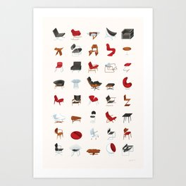 Mid-Century Modern Furniture (Neutral) Art Print