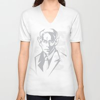 kafka V-neck T-shirts featuring Kafka portrait in Greys by aygeartist